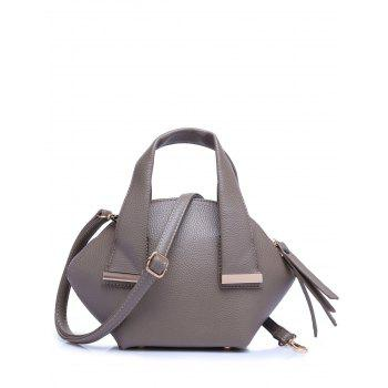 Buy Stylish Metal Trim Dark Color Design Women's Tote Bag GRAY