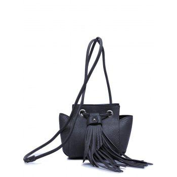 Stylish Fringe and Dark Color Design Women's Crossbody Bag - BLACK GREY BLACK GREY
