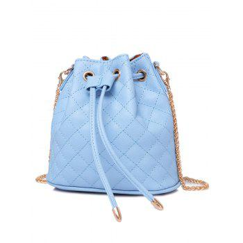 Stylish Checked Stitches and Chains Design Women's Crossbody Bag - LIGHT BLUE