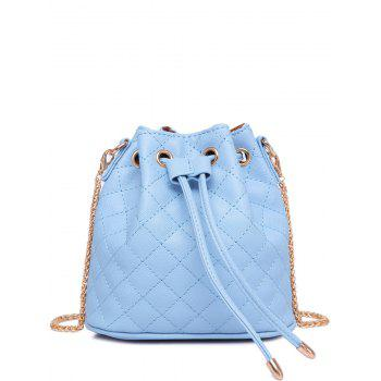 Buy Stylish Checked Stitches Chains Design Women's Crossbody Bag LIGHT BLUE