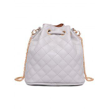 Stylish Checked Stitches and Chains Design Women's Crossbody Bag -  LIGHT GRAY