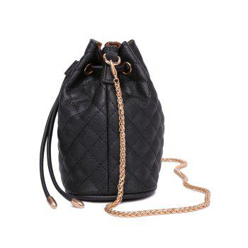 Stylish Checked Stitches and Chains Design Women's Crossbody Bag -  BLACK