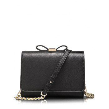 Elegant Bowknot and Solid Color Design Women's Crossbody Bag - BLACK BLACK