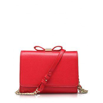 Elegant Bowknot and Solid Color Design Women's Crossbody Bag - RED RED