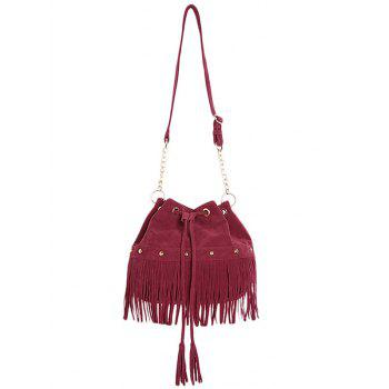 Stylish Fringe and Rivet Design Women's Crossbody Bag - WINE RED WINE RED