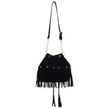 Stylish Fringe and Rivet Design Women's Crossbody Bag