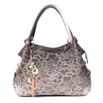 Pandent Metal Shoulder Bag - GRAY GRAY