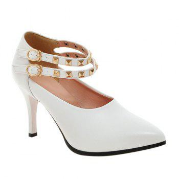 Buy Trendy Metal Rivets Ankle Strap Design Women's Pumps WHITE