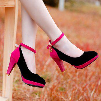 Stylish Color Block and Ankle Strap Design Women's Pumps