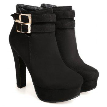 Party Chunky Heel and Metal Buckles Design Women's Ankle Boots - BLACK 38