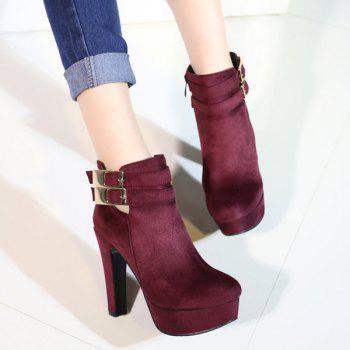 Party Chunky Heel and Metal Buckles Design Women's Ankle Boots