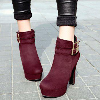 Party Chunky Heel and Metal Buckles Design Women's Ankle Boots - WINE RED 38