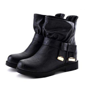 Leisure Metal and Flat Heel Design Women's Short Boots - BLACK 37