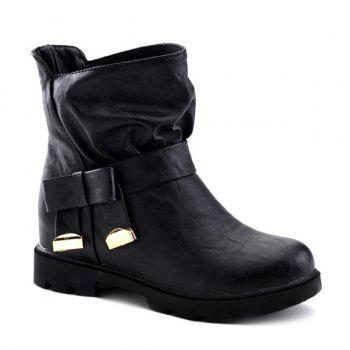 Leisure Metal and Flat Heel Design Women's Short Boots