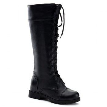 Trendy Flat Heel and Tie Up Design Women's Boots