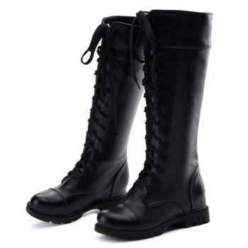 Trendy Flat Heel and Tie Up Design Women's Boots - BLACK 38