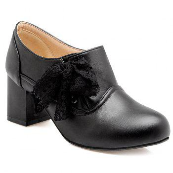 Sweet Lace and Chunky Heel Design Women's Ankle Boots