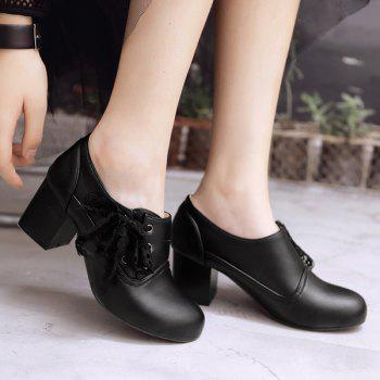 Sweet Lace and Chunky Heel Design Women's Ankle Boots - BLACK 39