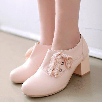 Sweet Lace and Chunky Heel Design Women's Ankle Boots - PINK 39