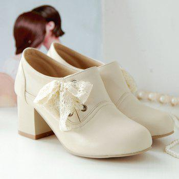 Sweet Lace and Chunky Heel Design Women's Ankle Boots - OFF WHITE 41