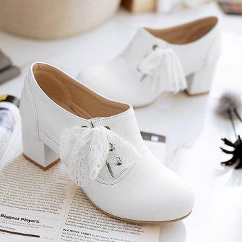 Sweet Lace and Chunky Heel Design Women's Ankle Boots - WHITE 40