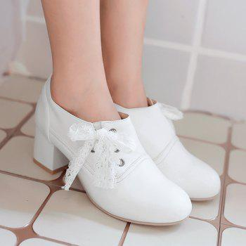 Sweet Lace and Chunky Heel Design Women's Ankle Boots - WHITE 38