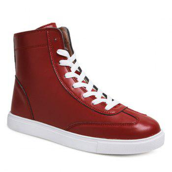 Trendy Solid Color and Lace-Up Design Men's Boots