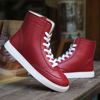 Trendy Solid Color and Lace-Up Design Men's Boots - CLARET 41