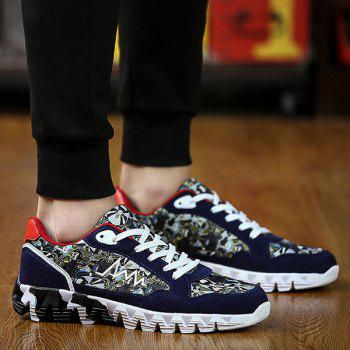 Stylish Splice and Printed Design Men's Athletic Shoes