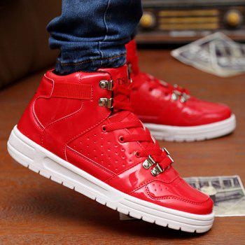 Stylish Tie Up and Breathable Design Men's Casual Shoes - RED RED