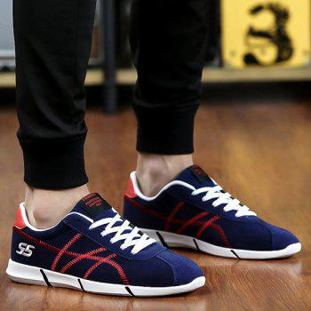 Sports Style Stitches and Lace-Up Design Men's Casual Shoes - BLUE 40