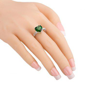 Faux Crystal Heart Shape Ring - EMERALD
