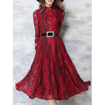 Prom Lace Swing Dress with Sleeves