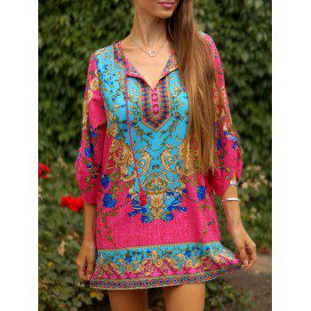 Vintage Floral Print V-Neck Self Tie 3/4 Sleeve Dress For Women