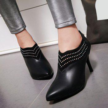 Fashionable Splicing and Rhinestones Design Women's Ankle Boots - BLACK 39