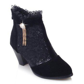 Trendy Lace and Chunky Heel Design Women's Ankle Boots - BLACK 37