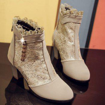 Trendy Lace and Chunky Heel Design Women's Ankle Boots - LIGHT KHAKI 41