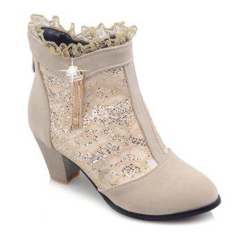 Trendy Lace and Chunky Heel Design Women's Ankle Boots - LIGHT KHAKI 37
