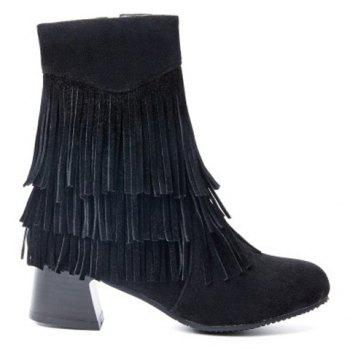 Stylish Layer Fringe and Chunky Heel Design Women's Boots - BLACK 39