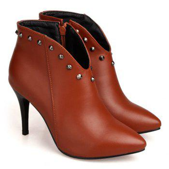 Trendy Pointed Toe and Rivet Design Women's Ankle Boots - BROWN 37