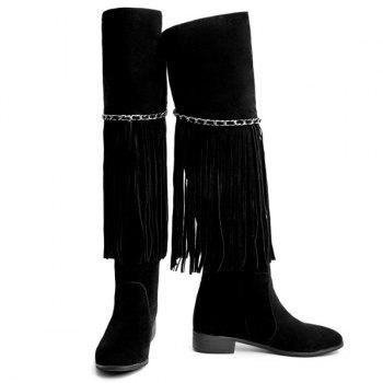 Fashionable Fringe and Chains Design Women's Thigh High Boots - BLACK 37