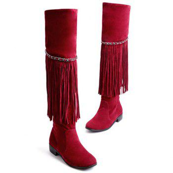 Fashionable Fringe and Chains Design Women's Thigh High Boots - WINE RED 39