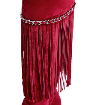 Fashionable Fringe and Chains Design Women's Thigh High Boots - WINE RED 37