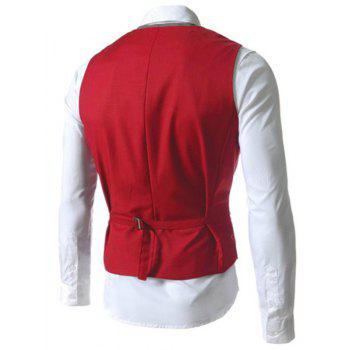 Single Breasted Color Block Faux Twinset V-Neck Sleeveless Men's Waistcoat - RED M