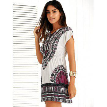 Casual Ethnic Summer Mini Dress - PURPLE ONE SIZE