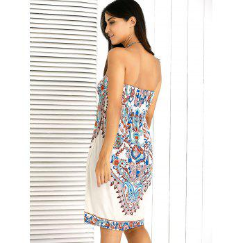 Shirred Floral Tube Strapless Bandeau Summer Dress - APRICOT ONE SIZE