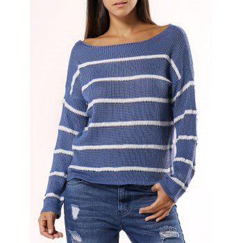 Stylish Striped Slash Neck Long Sleeve Knitwear For Women