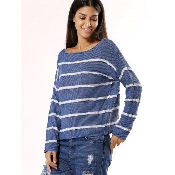 Stylish Striped Slash Neck Long Sleeve Knitwear For Women - BLUE ONE SIZE