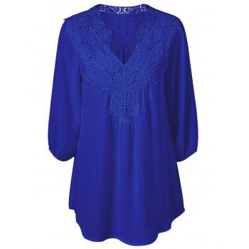 Blouse Oversize  en Crochet Superposition Col Tunisien