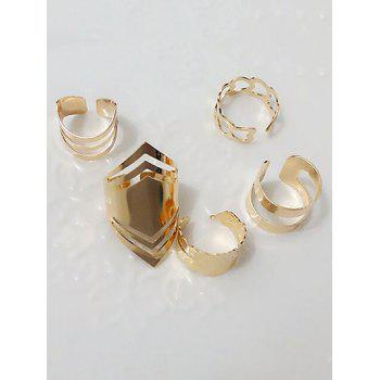 Cut Out Heart Cage Geometric Ring Set - PLATINUM